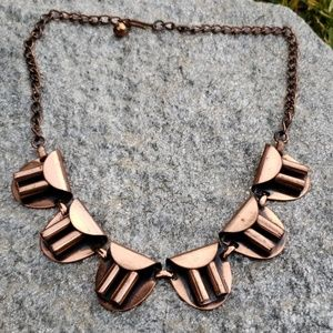 Vtg Unsig Renoir Machine Age Copper Link Necklace!